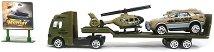 Военен автовоз с рампа - Детски комплект за игра с аксесоари -