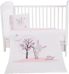 Бебешки спален комплект от 5 части - Pink Bunny - 100% ранфорс за матраци с размери 60 x 120 cm и 70 x 140 cm -
