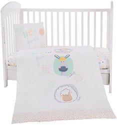 Бебешки спален комплект от 5 части - New Friends - 100% ранфорс за матраци с размери 60 x 120 cm и 70 x 140 cm -