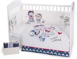 Бебешки спален комплект от 3 части - Love Rome EU Stile - 100% ранфорс за легла с размери 60 x 120 cm или 70 x 140 cm -