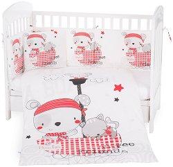 Бебешки спален комплект от 6 части - Pirates - 100% ранфорс за легла с размери 60 x 120 cm или 70 x 140 cm - продукт