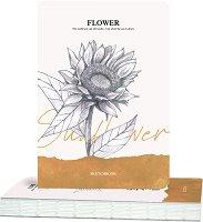 """Скицник за рисуване - Слънчоглед - С размери 14.5 x 21 cm и плътност 100 g/m : 2 :  : От серията """"Flower"""""""