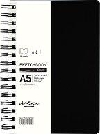 Скицник за рисуване с черни листове и спирала - С плътност на хартията 90 g/m : 2 :
