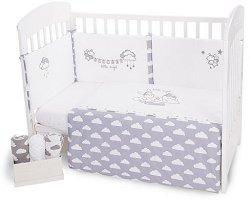 Бебешки спален комплект от 3 части - Little Angel Clouds EU Stile - 100% ранфорс за легла с размери 60 x 120 cm или 70 x 140 cm -