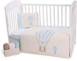 Бебешки спален комплект от 5 части - Puppy on Balloon - 100% ранфорс за легла с размери 60 x 120 cm и 70 x 140 cm -