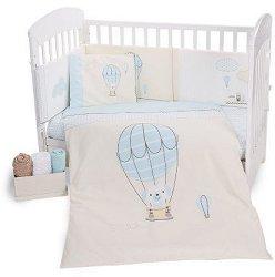 Бебешки спален комплект от 6 части - Puppy on Balloon - 100% ранфорс за легла с размери 60 x 120 cm или 70 x 140 cm - продукт