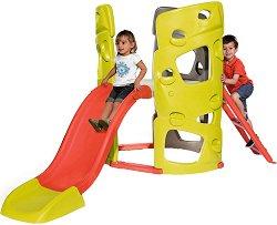 Детски център - Пързалка със стена за катерене -