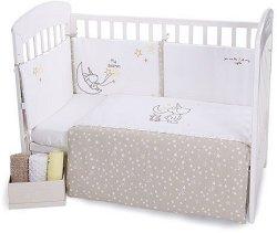 Бебешки спален комплект от 3 части -  Little Dreamer Stars EU Stile - 100% ранфорс за матраци с размери 60 x 120 cm или 70 x 140 cm -