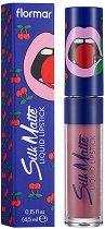 Flormar Cherry Silk Matte Liquid Lipstick by Yazbukey - Течно матово червило с аромат на череша - лак