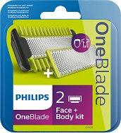 Philips OneBlade QP620/50 - Комплект от 2 резервни ножчета за лице и тяло и 2 приставки за тяло - гел