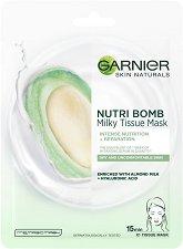 Garnier Nutri Bomb Milky Tissue Mask - Хартиена маска за суха кожа с бадемово мляко и хиалуронова киселина - серум