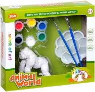 """Декорирай сам пластмасова фигура - Горила - Творчески комплект от серията """"Animal World"""" -"""