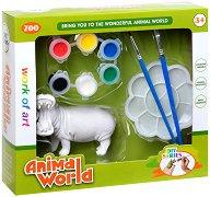 """Декорирай сам пластмасова фигура - Хипопотам - Творчески комплект от серията """"Animal World"""" -"""