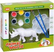 """Декорирай сам пластмасова фигура - Носорог - Творчески комплект от серията """"Animal World"""" -"""