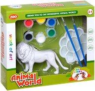 """Декорирай сам пластмасова фигура - Лъв - Творчески комплект от серията """"Animal World"""" -"""