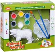 """Декорирай сам пластмасова фигура - Мечка - Творчески комплект от серията """"Animal World"""" -"""