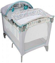 Сгъваемо бебешко легло на две нива - Contour Electra: Buddy Bear - Комплект с аксесоари за матрак с размери 65 х 100 cm -