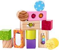 Детски дървен конструктор - Комплект от 12 елемента -