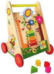 Количка с активни занимания - Дървена играчка за бутане - играчка