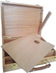 Дървена кутия за съхранение на четки и бои - С размери 32 / 24 / 7.2 cm