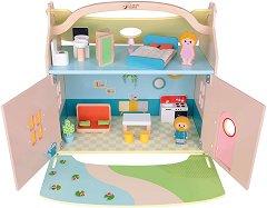 Преносима къща за кукли - Комплект за игра с аксесоари - играчка