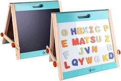 Двустранна магнитна дъска за рисуване - В комплект с магнитни английски букви -