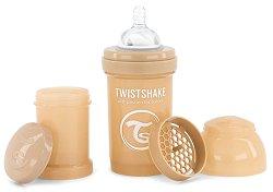 Бебешко шише за хранене с широко гърло - Twistshake 180 ml - Копмплект със силиконов биберон, приставка шейкър и контейнер за сухо мляко -
