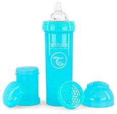 Бебешко шише за хранене с широко гърло - Twistshake 330 ml - Комплект със силиконов биберон, приставка шейкър и контейнер за сухо мляко -
