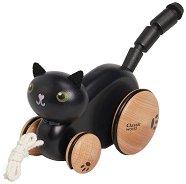 Коте - Дървена играчка за дърпане -