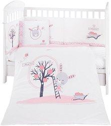 Бебешки спален комплект от 6 части - Pink Bunny - 100% ранфорс за легла с размери 60 x 120 cm или 70 x 140 cm -