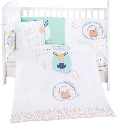 Бебешки спален комплект от 6 части - New Friends - 100% ранфорс за легла с размери 60 x 120 cm или 70 x 140 cm -