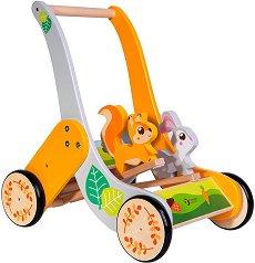 Проходилка - Горски животни - Детска дървена играчка за бутане -