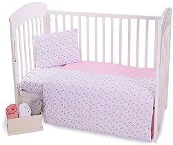 Бебешки спален комплект от 4 части - Pink Flowers - 100% трико за матраци с размери 60 x 120 cm или 70 x 140 cm -