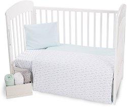 Бебешки спален комплект от 4 части - Green Cars - 100% трико за матрак с размери 70 x 140 cm -