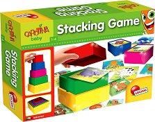 """Пирамида от кубчета - Животни - Комплект с пъзели на животни от серията """"Carotina Baby"""" -"""