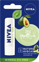 Nivea 24 Melt-in Moisture Avocado - SPF 15 - Балсам за устни с масло от авокадо - гел
