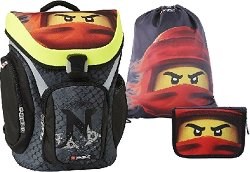 Ученическа раница - LEGO Ninjago: Kai of Fire - Комплект със спортна торба и несесер -