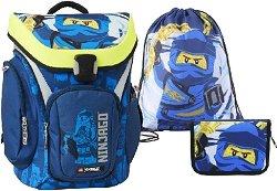 Ученическа раница - LEGO Ninjago: Jay Explorer - Комплект със спортна торба и несесер -