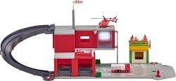 Пожарна станция - Детски комплект за игра с аксесоари със светлинни и звкови ефекти -