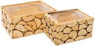 Дървена кашпа - Special - Комплект от 2 броя