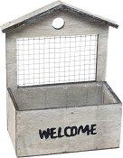 Дървена кашпа - Welcome