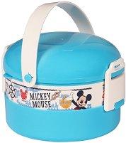 Кутия за храна - Мики Маус - Комплект с прибор за хранене - пъзел