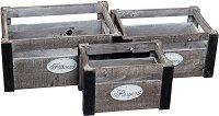 Дървена кашпа - Magic - Комплект от 3 броя