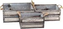 Дървена кашпа - Natural - Комплект от 3 броя
