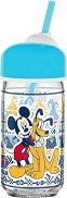 Детска бутилка със сламка - Мики Маус - творчески комплект