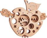 Ябълка с червейчета - Механичен 3D дървен пъзел -