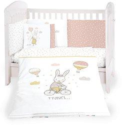 Бебешки спален комплект от 6 части - Rabbits in Love - 100% ранфорс за легла с размери 60 x 120 cm или 70 x 140 cm -