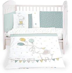Бебешки спален комплект от 5 части - Elephant Time - 100% ранфорс за матраци с размери 60 x 120 cm и 70 x 140 cm -