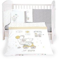 Бебешки спален комплект от 6 части - Joyful Mice - 100% ранфорс за легла с размери 60 x 120 cm или 70 x 140 cm -