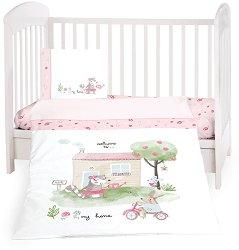 Бебешки спален комплект от 5 части - My Home - 100% ранфорс за матраци с размери 60 x 120 cm и 70 x 140 cm -